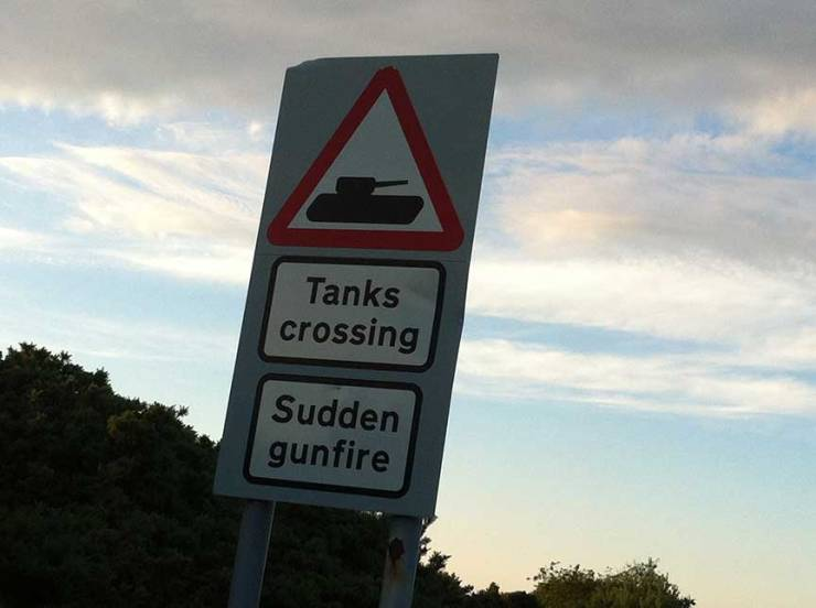 tanks crossing sudden gun fire
